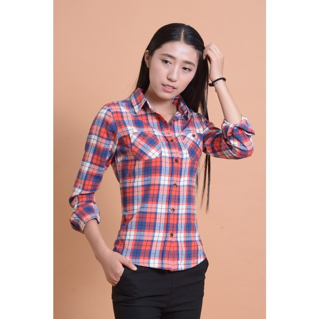 a5704110ca3 Plaid Women Tops Cotton Flannel shirt Women Blouses 2015 New Design Women  shirts Long Sleeves Checked Shirt Blouse For Lady Girl