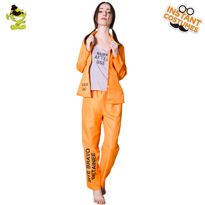 Image 3 - Halloween Prisoner Costumes Role Play Adult Womens Prisoner Suit Costumes
