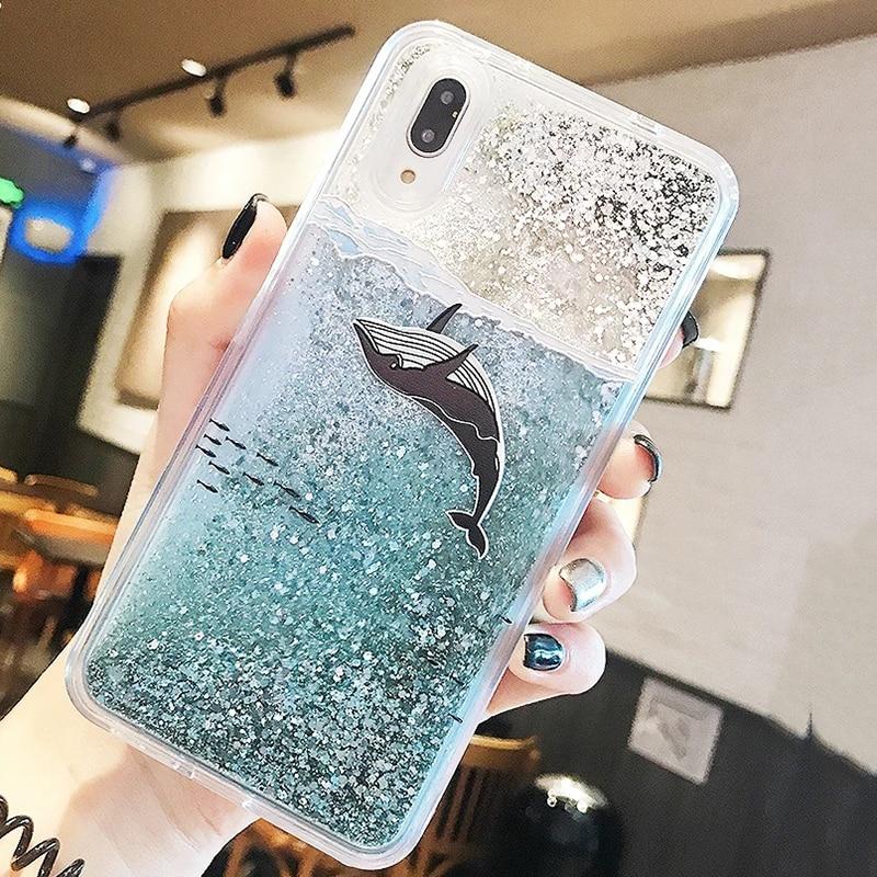 3D Whale Dolphin Clear Glitter Star For Huawei P10 P20 lite Nova 2S Honor 9 10 V10 7C 7X P Smart Y9 2018 Liquid Quicksand Cases (2)
