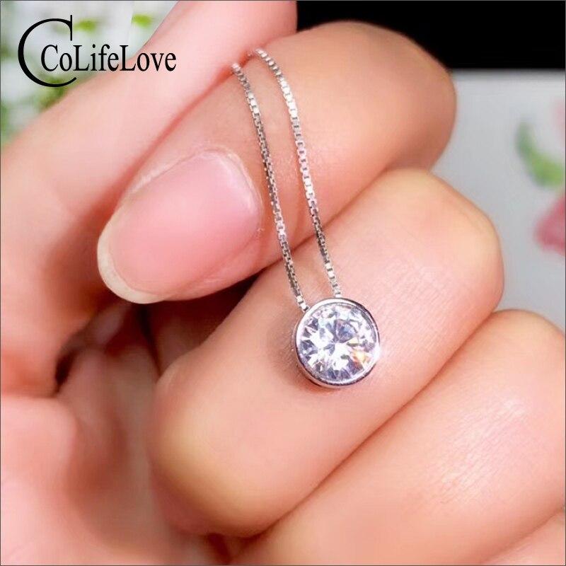CoLife bijoux mode Moissanite pendentif pour jeune fille 1.2ct F couleur VVS1 Grade Moissanite pendentif en argent 925 bijoux en argent