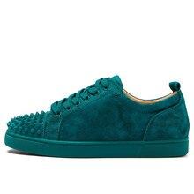 Hot Sale Men Spike Shoes Low Top Lace-up Sneaker Round Toe Sapatos Men Rivet Casual Shoes Plus Size EU39-47 Green Grey Black
