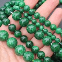 Natural Green Emerald Dry Green /Blackish Green Jades ,6-14mm Round beads ,For DIY Jewelry Making !