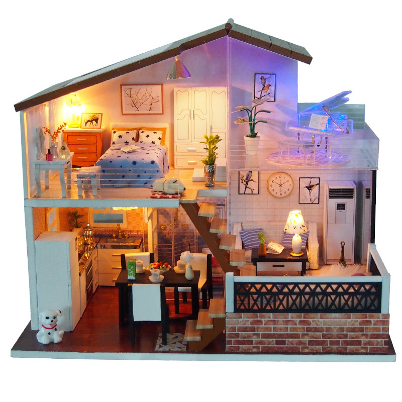Doll House Furniture Diy Miniature Dust Cover 3D Wooden Miniatures Dollhouse Toys for Children Christmas Gifts