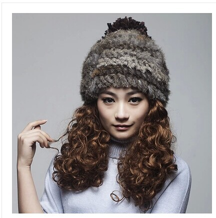 73054a81d32 Free shipping Thickening version temperament was rabbit fur hat Ms. Han  edition in the fall and winter skin hats wool hat-in Skullies   Beanies  from Women s ...