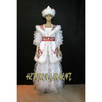 High Quality Custom Made Kazak Nationality Dance Costume Dress With Headwear Head In Feather Decoration For Adult Or Kids HD014