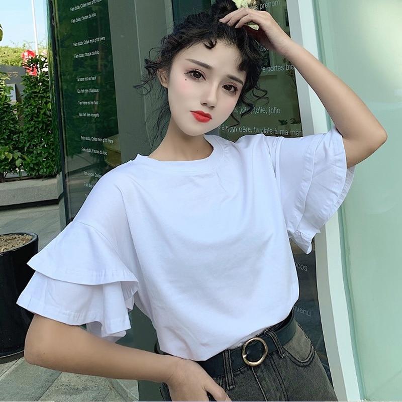 587301a8b Verano de 2019 del todo-fósforo del Color sólido t camisa coreana Casual  suelto volantes de manga ...