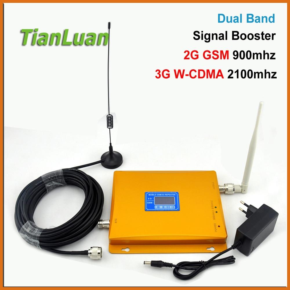 TianLuan LCD Display W CDMA UMTS 2100MHz GSM 900Mhz Mobile Phone Signal Booster 2G 3G Signal