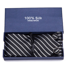Men`s Tie Black Striped 100% Silk Jacquard Woven Hanky Cufflink Neck For Men Party Wedding Business Gift box