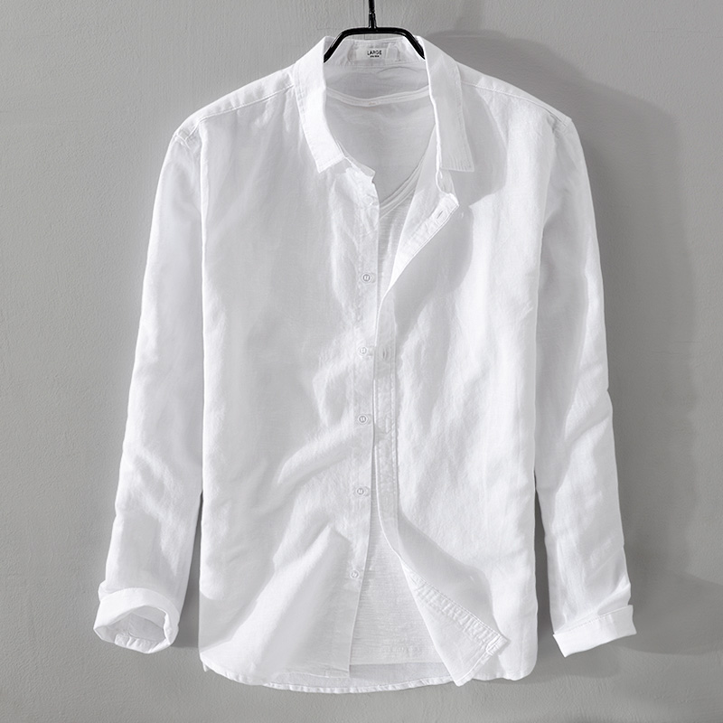 2019 Men's New Cotton And Linen Long-sleeved Shirt White Casual Shirt Men Brand Fashion Solid Shirts Men Tops Camisa Chemise 4XL