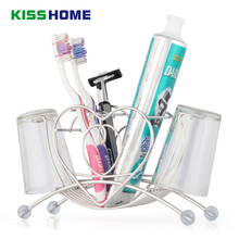 Multi-function Stainless Steel Heart Shaped Toothbrush Toothpaste Cup Holder Stand Tumbler Storage Rack Bathroom Accessories стоимость