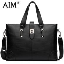 AIM Fashion Business Black Handbag Men Genuine Leather Luxury Brand Bags Man Crossbody Laptop Tote Briefcases
