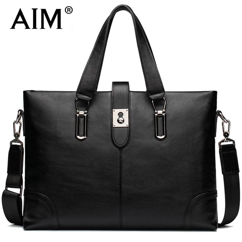 AIM Fashion Business Black Handbag font b Men b font Genuine Leather Luxury Brand font b