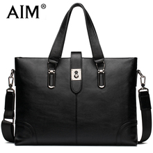 AIM Fashion Business Black Handbag Men Genuine Leather Luxury Brand Bags Man Crossbody Laptop Tote Briefcases Shoulder Bags Men
