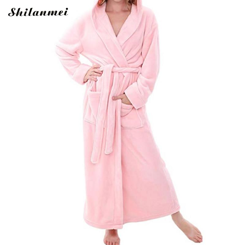 Soft Winter Flannel Coral Fleece Couple Lover's Robe Kimono Bathrobe Nightgown Thick Warm Long Sleeve Sleepwear Bath Night Gown