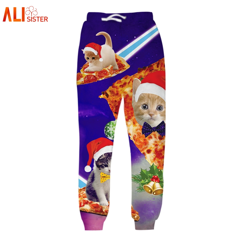 Alisister Men Christmas Pants Unisex 3D Printed Galaxy Cats Trousers Funny Sweatpants Casual Sweat Pants Joggers Large Size
