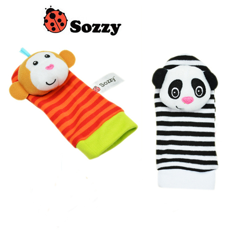 Sozzy-2pcs-Soft-Baby-Toy-Wrist-Strap-Socks-Cute-Cartoon-Garden-Bug-Plush-Rattle-with-Ring-Bell-0M-3