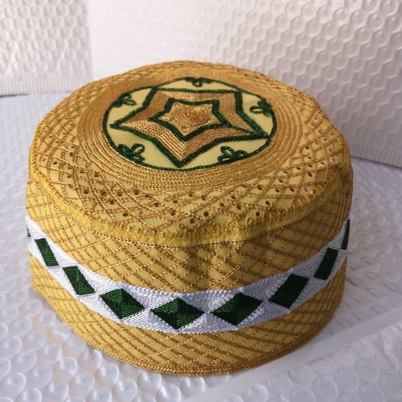 5 Pic Islam Men's Moslim Prayer Hats Muslim India Arab Jewish Hat Yellow Allah Musulman Hombre Cap Kippah African Head Caps Topi