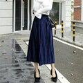 2017 primavera falda larga plisada moda falda de terciopelo caliente más tamaño falda elástico de cintura alta vintage femme xl-5xl