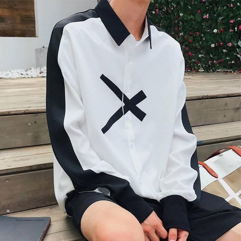 Casual Mens Blouses 2019 Japan Harajuku Shirts Korean Style Short Sleeve Shirt Japanese Print Shirt Male Hip Hop Shirt For Boys