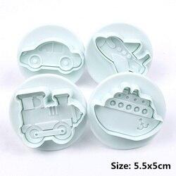 4 sztuk/zestaw samolot  pojazd  zbiornik  kształt samochodu plastikowe foremki do ciastek masa cukrowa formy ciasto dekorowanie narzędzia foremki na słodycze