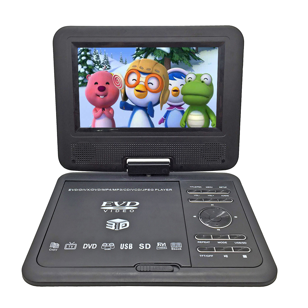 New 7.8 inch Portable DVD EVD VCD SVCD CD Player With Game and radio Function TV AV Support SD MS MMC Card 9 portable dvd player w game radio function black