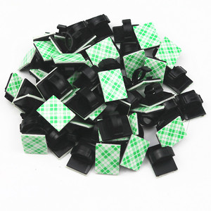 Image 3 - 20Pcs/lot Plastic Office Car Wire Cord Wrapper Pasted Flat Cable Holder Tie Clips Fixer Organizer Winder Rectangle Mount Clamp