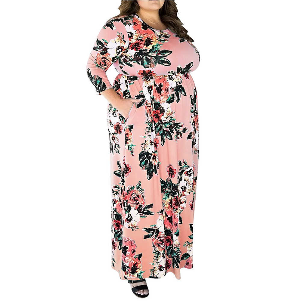 ... 4xl 5xl Big Size Vintage Floral Printing Dresses Plus Size Woman Swing  Dress 2018 Spring Elegant ... 177f85f47b3b
