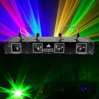 (Nave da US) 4 Obiettivo 4 Travi RGYB 760 mW DMX Rosso Verde Giallo Blu DJ Luce Del Partito Della Luce Laser Della Discoteca Della Fase Professionale