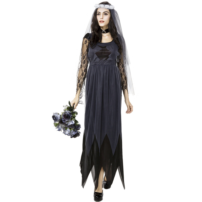 Black Corpse Bride Vampire Witch Dress Halloween Costumes Cosplay For Woman Party Carnival Uniform DS Clubwear