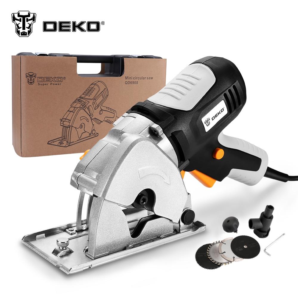 Sierra Circular DEKO TMK02 pequeña potencia redonda de mano, 4 cuchillas BMC caja sierra eléctrica