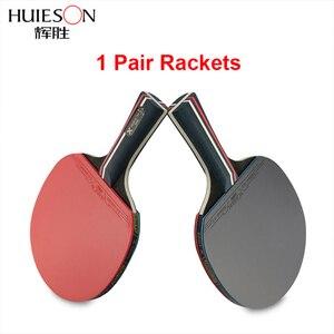 Image 5 - 1 paire Huieson raquettes de Tennis de Table lame en caoutchouc professionnel carbone ping pong batte longs picots porte plume pagaie avec sac 3 balles