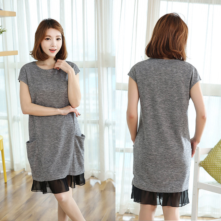 Pregnant Women Dress Short Sleeve Lace Maternity Dress with Pocket New Fashion O-neck Plus Size Pregnancy Clothing