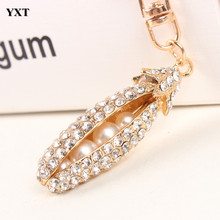Bean Pearl Pod Lovely Fashion Cute Rhinestone Crystal Purse Bag Key Ring Chain Women In Jewelry Best Gift For Lover Nice&Light