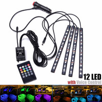 4Pcs 12 SMD Remote Music Control Colorful RGB LED Auto Car Interior Floor Decorative Strip Light