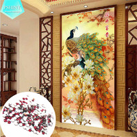 PSHINY Transparent Round Rhinestone 5D DIY Diamond Embroidery Peacock Animal Picture Full Mosaic Diamond Painting Cross