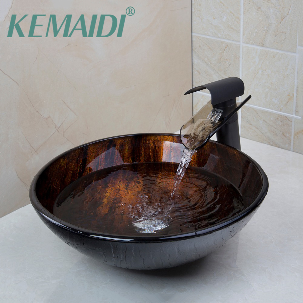 KEMAIDI Tempered Glass Basin Sink With Oil Rubbed Bronze Waterfall Faucet  Taps Bathroom Water Drain Bathroom Sink Set