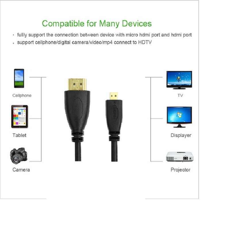 Micro HDMI to HDMI Cable 3ft 1m1. 5 m 2 m 3 m 3D 4 K * 2 K ชาย - ชายสูง Premium Gold - plated HDMI อะแดปเตอร์สำหรับโทรศัพท์แท็บเล็ตกล้อง HDTV