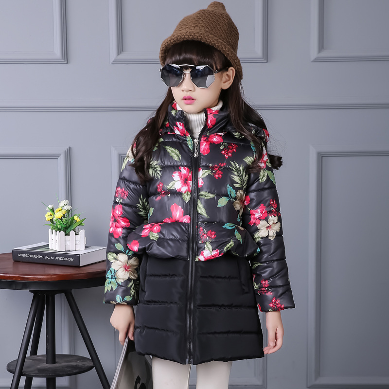 2017 Kids Baby Hooded Floral Print Girls Winter Coat Long Child Winter Jacket For Girls Cotton-Padded Parkas Down women s cotton padded long jacket winter leisure wild long cashmere wool liner coat casual pocket zipepr parkas mujer jy 805