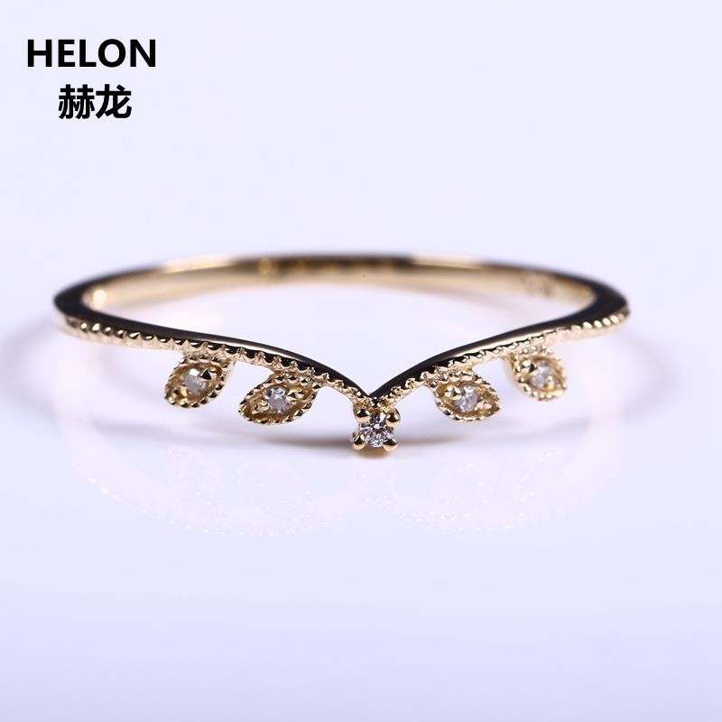 Leaf Solid 10k Yellow Gold Natural Diamond Women Engagement Ring Art Deco Millgrain Wedding Band Romantic Promise Ring natural ruby solid 14k white gold women girl engagement ring wedding band leaf art deco promise ring romantic cute thin