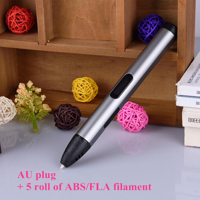 2017 New Brand pro USB 3D Pen AU plug 3D Printing Pen Kids Drawing Pen Best 3D Printer Pen with 5 roll of ABS filament abs original anet 3d filament plastic for 3d printer and 3d pen many colors 1kg 340 m abs express shipping from moscow