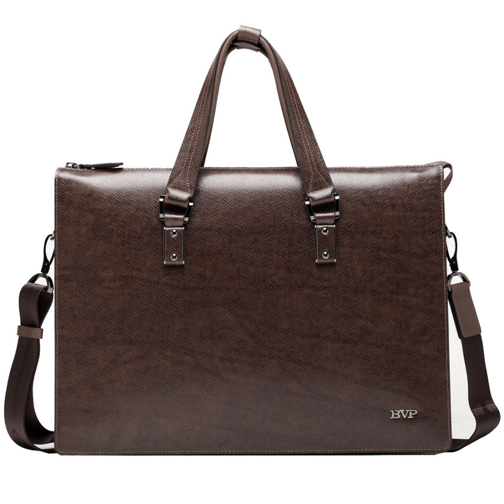 BVP - High-end Men Genuine Genuine Leather Business Briefcase Portfolio Document Attache Messenger Bag brown 14