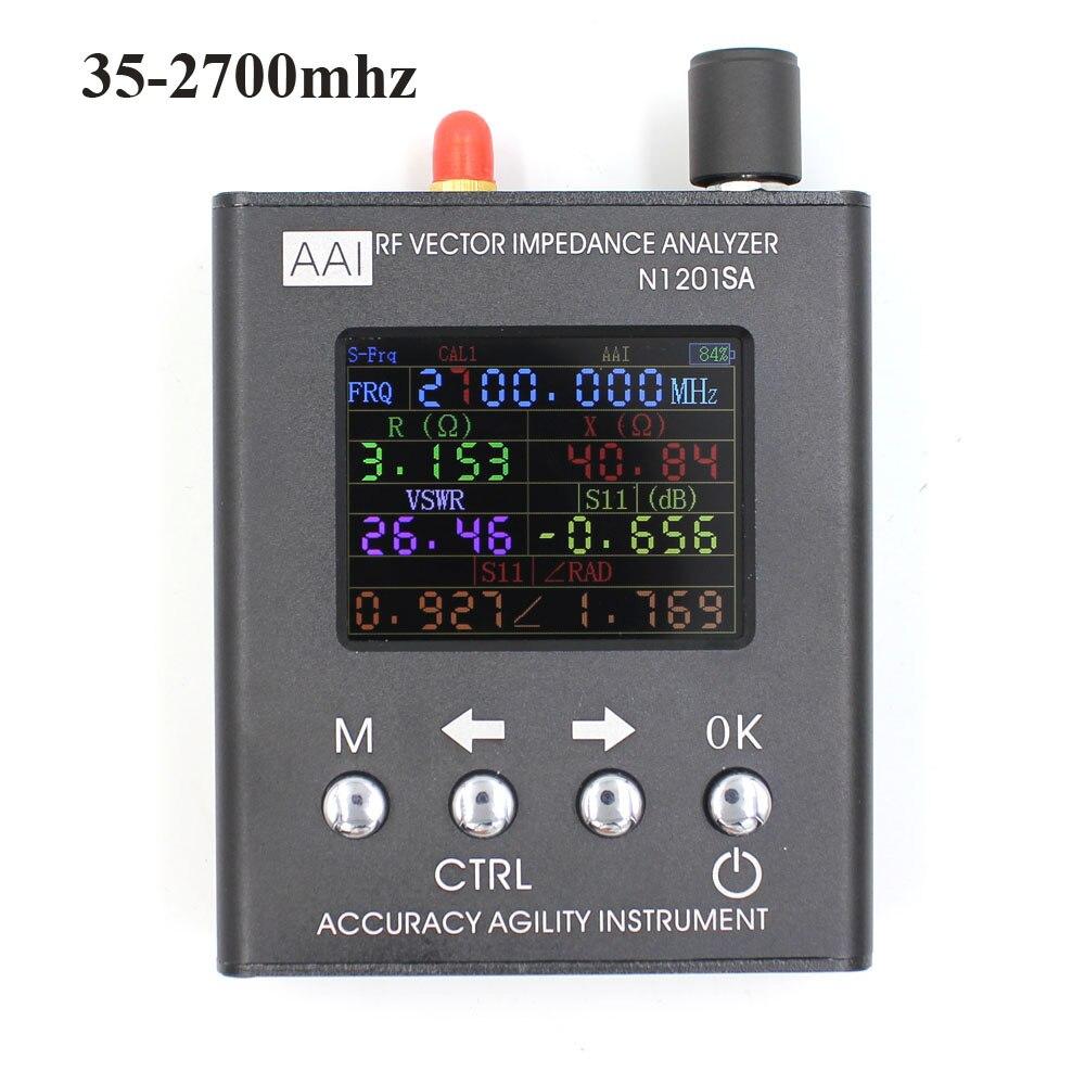 Testeur de mètre d'analyseur d'antenne SWR 35 MHZ-2.7 GHz résistance/impédance/SWR anglais verison N1201SA + UV RF vecteur impédance