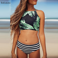 2017 Sexy High Neck Bikini Swimwear Women Swimsuit Brazilian Bikini Set Green Print Crochet Bandage Beach