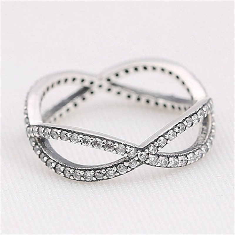 Original 925 Sterling Silver Sparkling Crossover Ring For Women Anniversary Engagement Wedding Gift Lady Fine Pans Jewelry in Engagement Rings from Jewelry Accessories