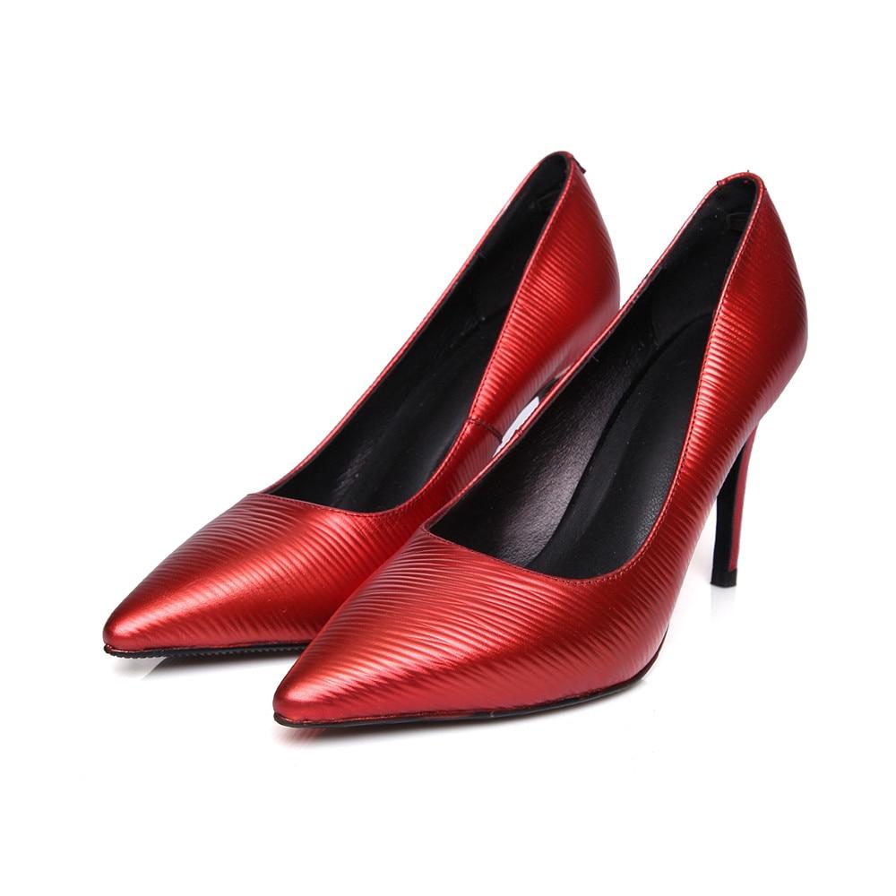 En Femme Pointu Mode Bout Mariage Élégant De Printemps Hauts black Véritable Femmes Arrivent Talons Asumer Automne Red gun Nouveau Chaussures Cuir Colors d4g8Ywxn