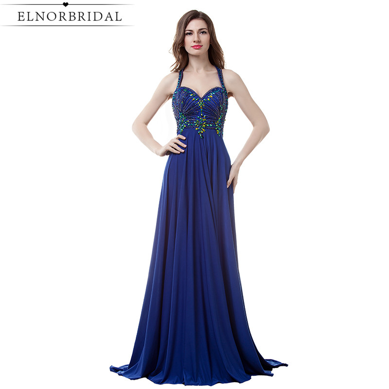 Royal Blue Beading Prom Dresses 2017 Sexy Halter Long Birthday Party Dress A Line Chiffon Robe De Soiree Longue Evening Gowns