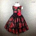Top qualidade vestidos de Natal da menina De flor padrão de vestido da menina do vintage high street malha blingbling impressão europeia moda