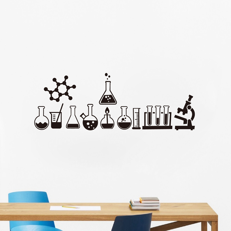 US $4.91 30% OFF|Science Wall Sticker Laboratory Decor Science is Cool  Vinyl Decals Mural Geek Wall Art Decals Bedroom Chemistry Poster Sticker-in  ...