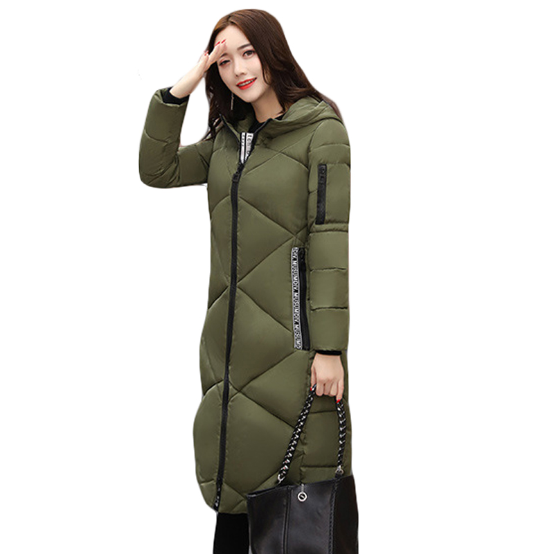 2017 Women's Winter Jacket Army green And Black New Long Slim Down Cotton Parkas Female Casual Jacket Coat Plus Size 3XL CM1502