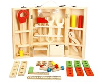 New House Children Wooden Service Simulation Toolbox Children Toy Nut Toolbox Blocks Kids Toys Juguetes